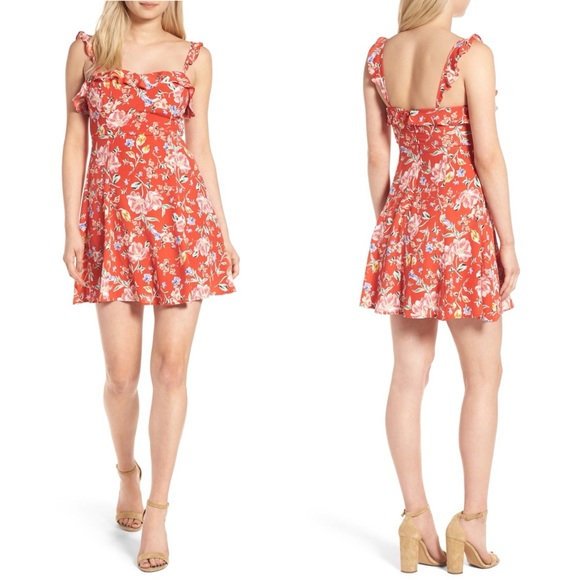 Astr Dresses & Skirts - New! ASTR the Label Red Ruffle Floral Minidress